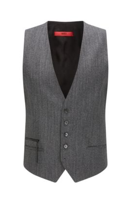 'Wilardo' | Extra Slim Fit, Herringbone Vest, Charcoal