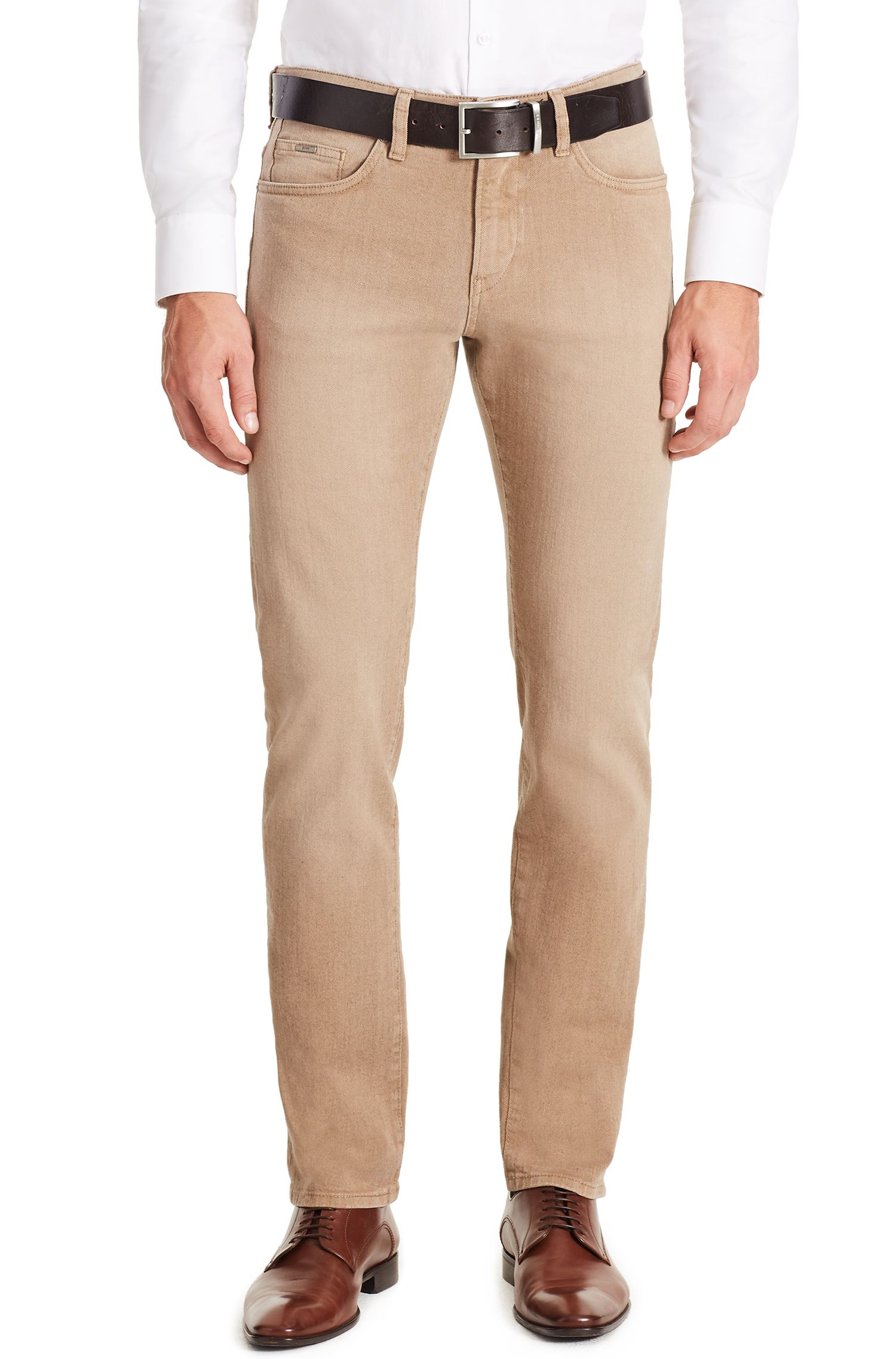 10.7 oz Italian Stretch Cotton Jeans, Slim Fit | Delaware, Beige