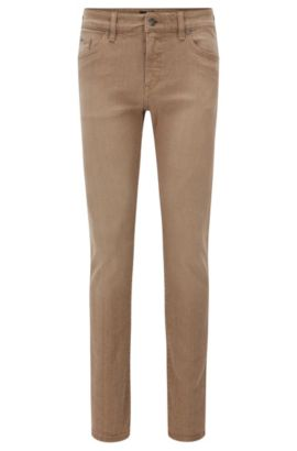 'Delaware' | Slim Fit, 10.7 oz Italian Stretch Cotton Jeans, Beige