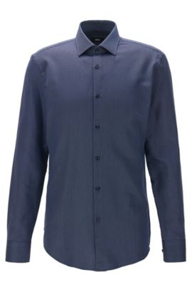 Geometric Cotton Dress Shirt, Slim Fit | Jenno, Dark Blue