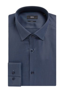 'Jenno' | Slim Fit, Geometric Cotton Dress Shirt, Dark Blue