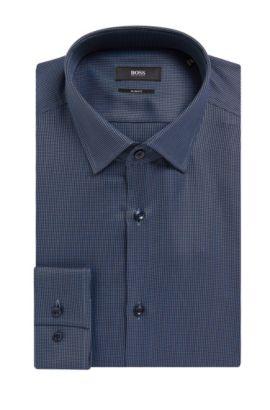 Geometric Cotton Dress Shirt, Slim Fit | Jenno, Dark Blue