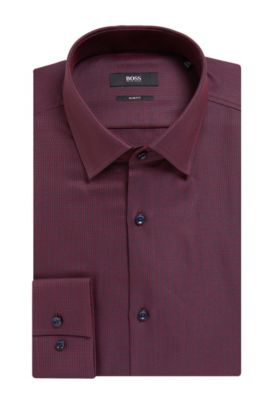 Geometric Cotton Dress Shirt, Slim Fit | Jenno, Dark Red