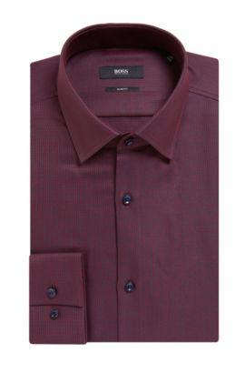 'Jenno' | Slim Fit, Geometric Cotton Dress Shirt, Dark Red