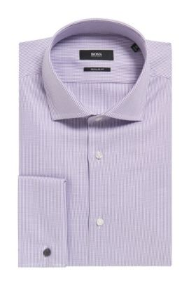 'Gardner' | Regular Fit, Dobby Cotton Dress Shirt, Purple