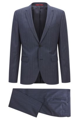 Heathered Italian Super 110 Virgin Wool Suit, Slim Fit | Astian/Hets, Dark Blue