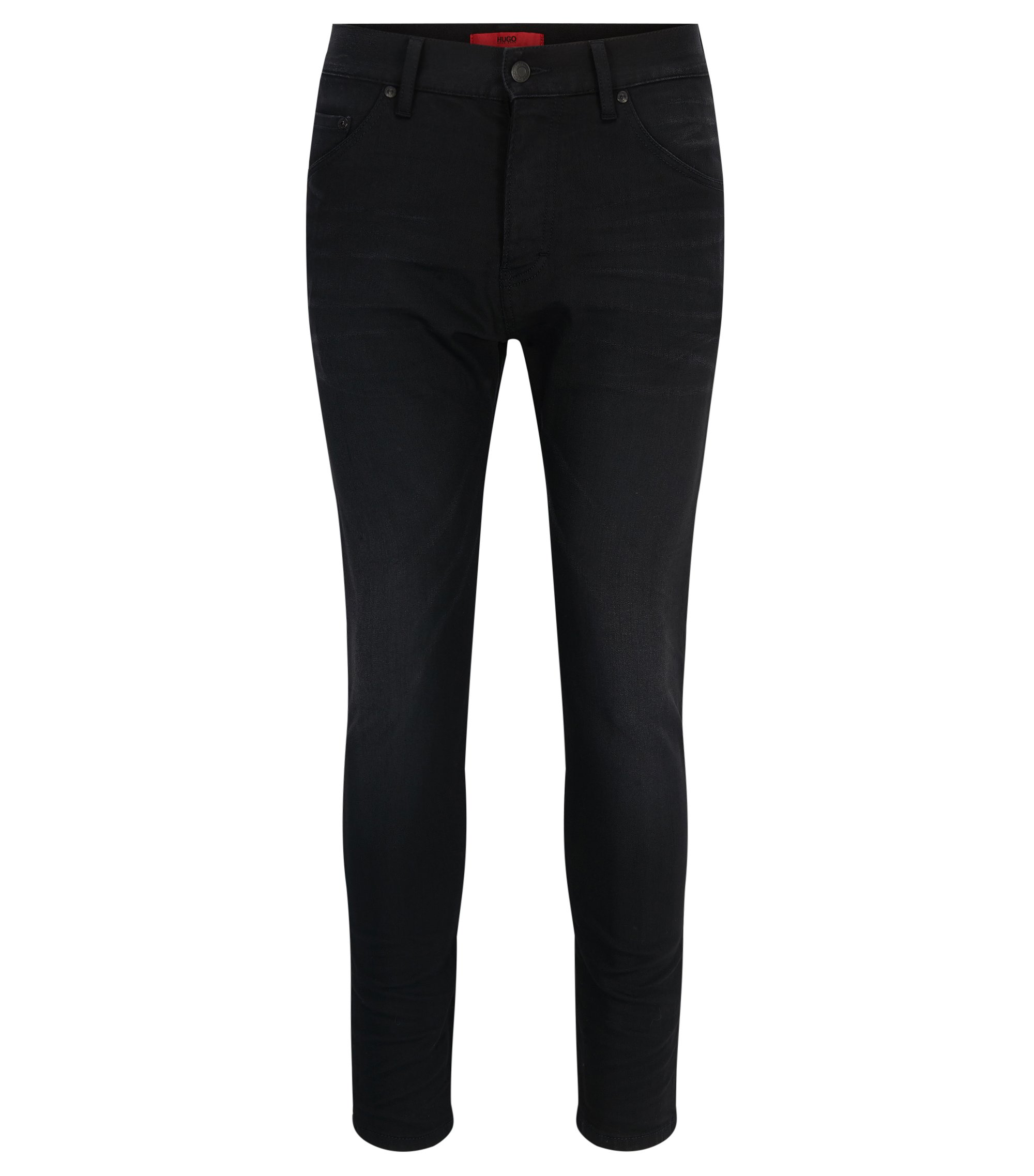 Stretch Cotton Jean, Tapered Fit | Hugo 432, Black