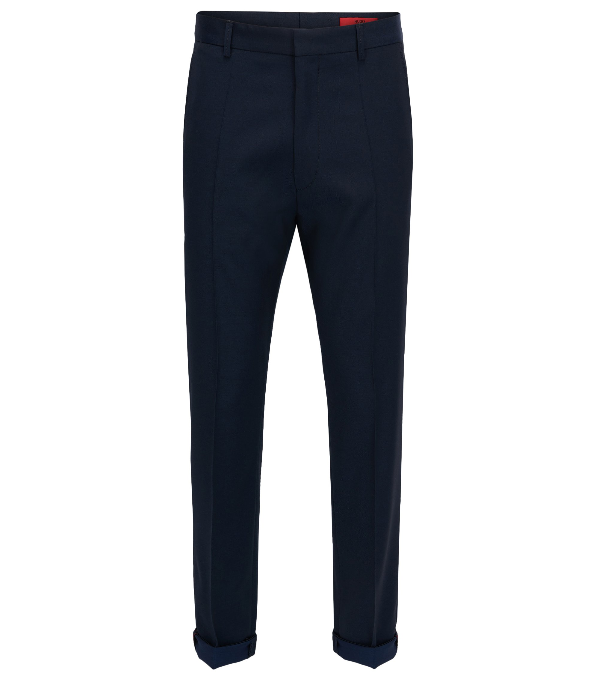 Virgin Wool Dress Pant, Extra Slim Fit | Hendris, Dark Blue