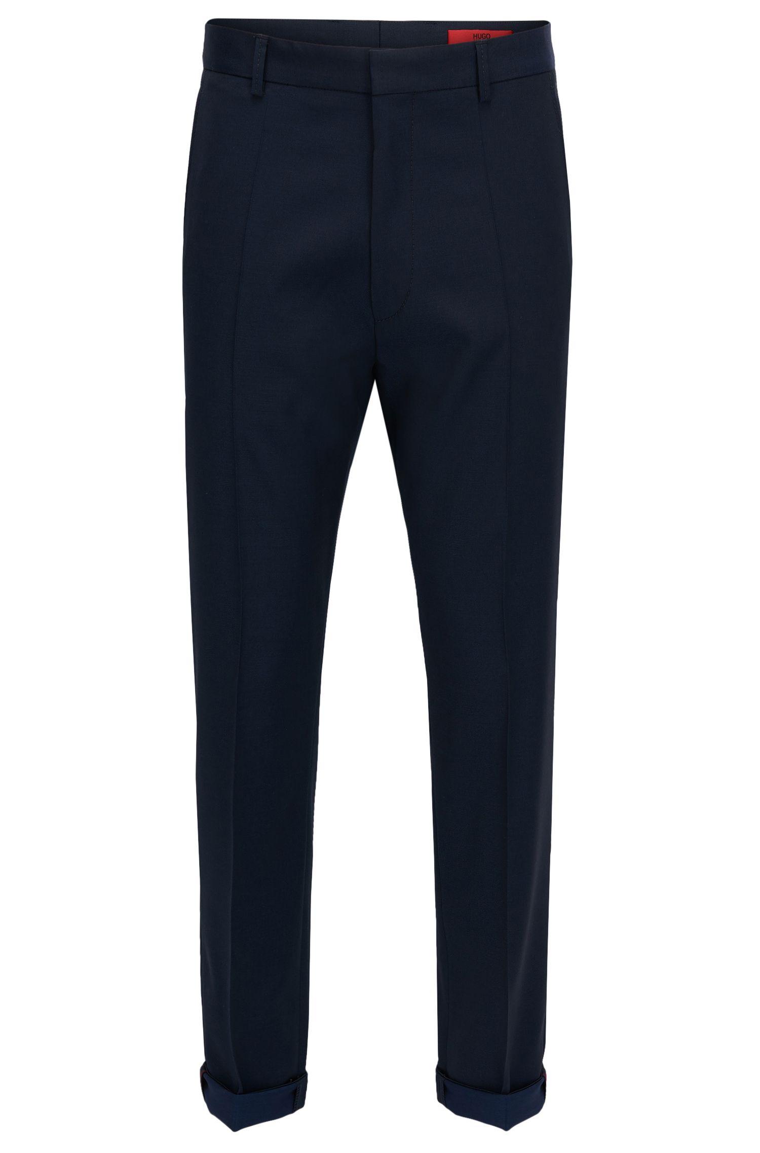 Virgin Wool Dress Pant, Extra Slim Fit | Hendris, Dark Blue