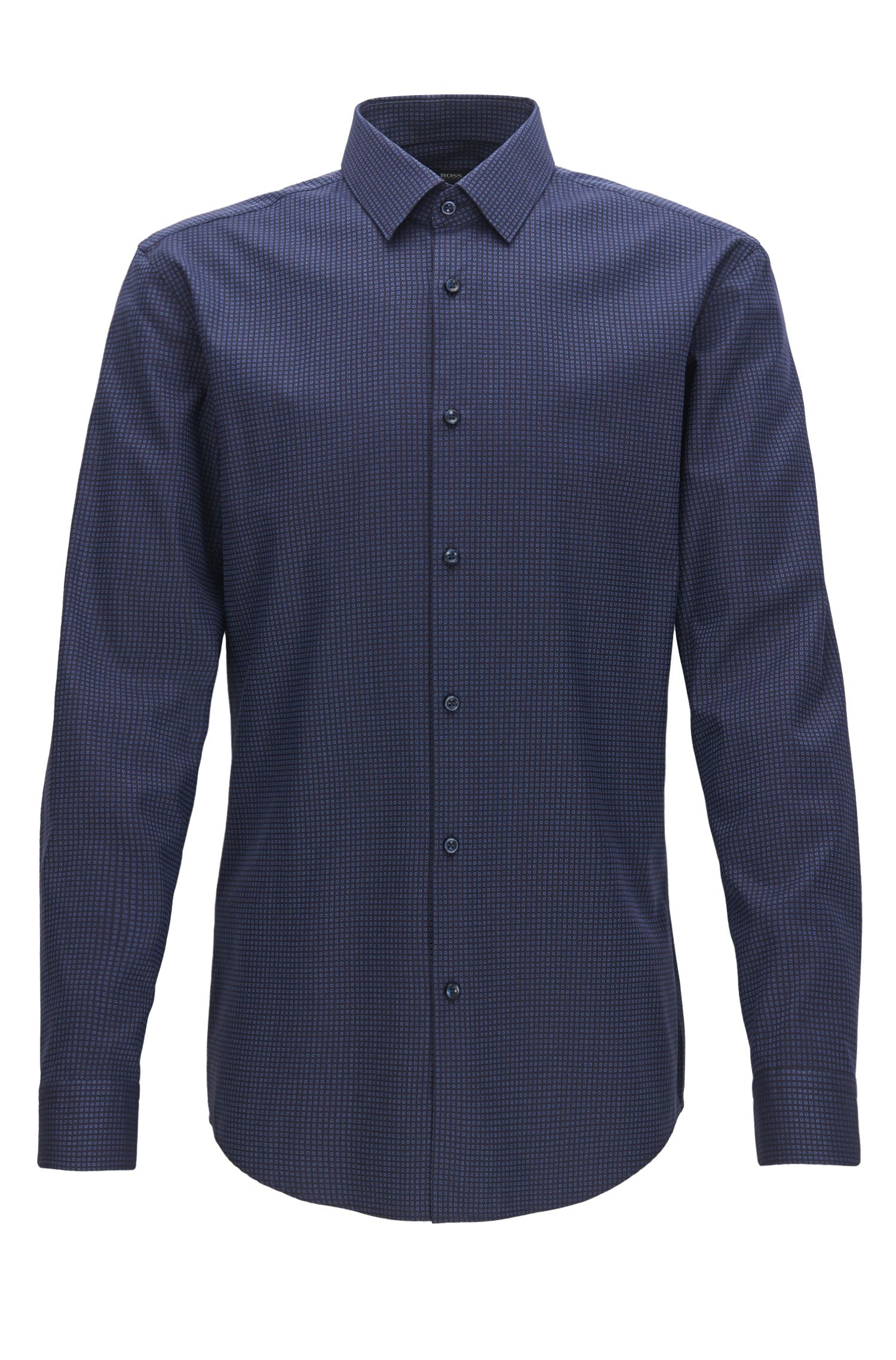 Patterned Stretch Cotton Dress Shirt with Stretch Tailoring, Slim Fit | Isko