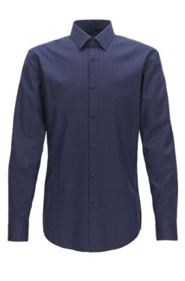 Patterned Stretch Cotton Dress Shirt, Slim Fit | Isko, Dark Blue