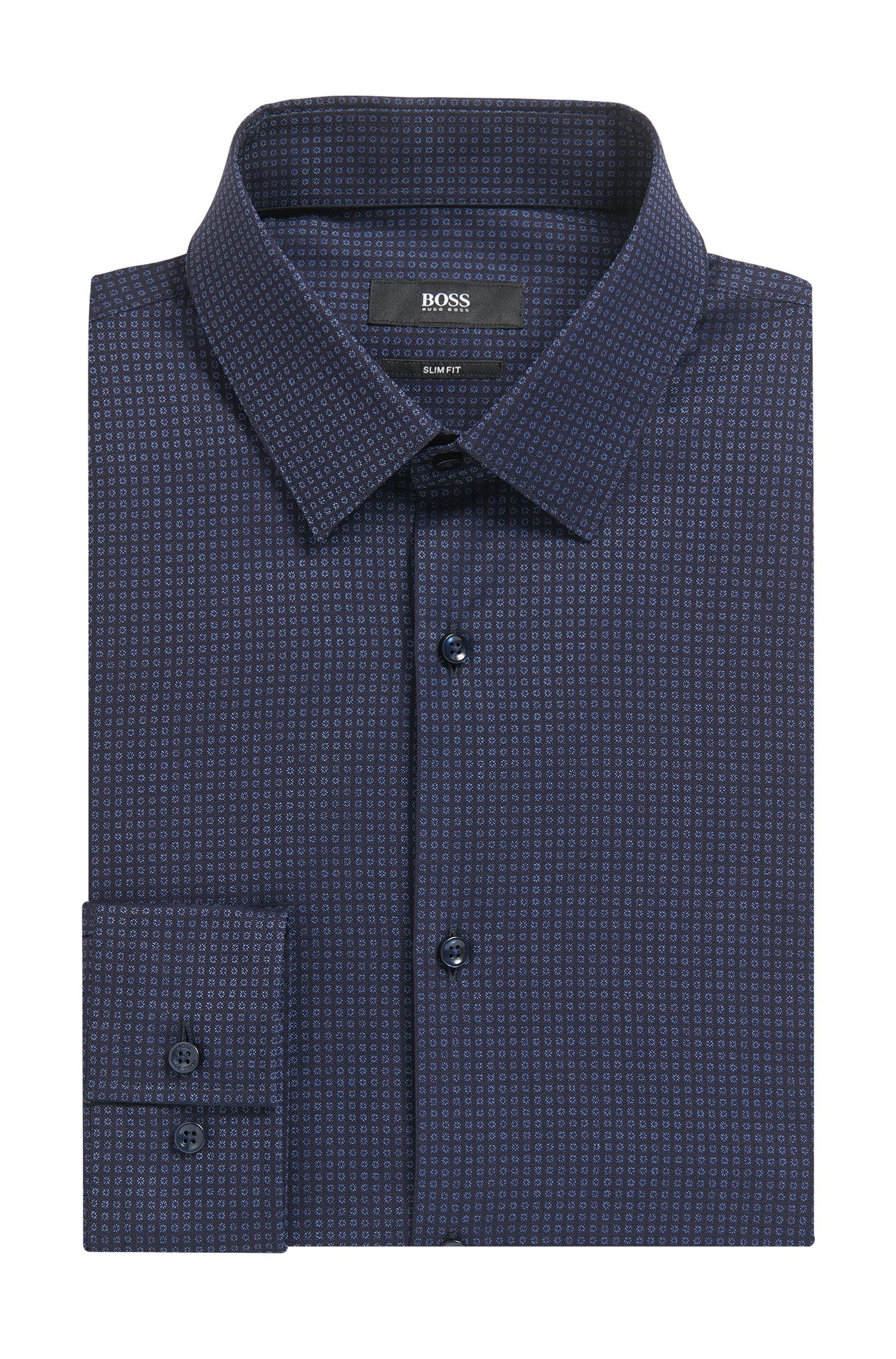'Isko' | Slim Fit, Patterned Stretch Cotton Dress Shirt