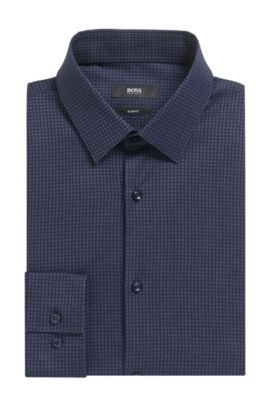 'Isko' | Slim Fit, Patterned Stretch Cotton Dress Shirt, Dark Blue