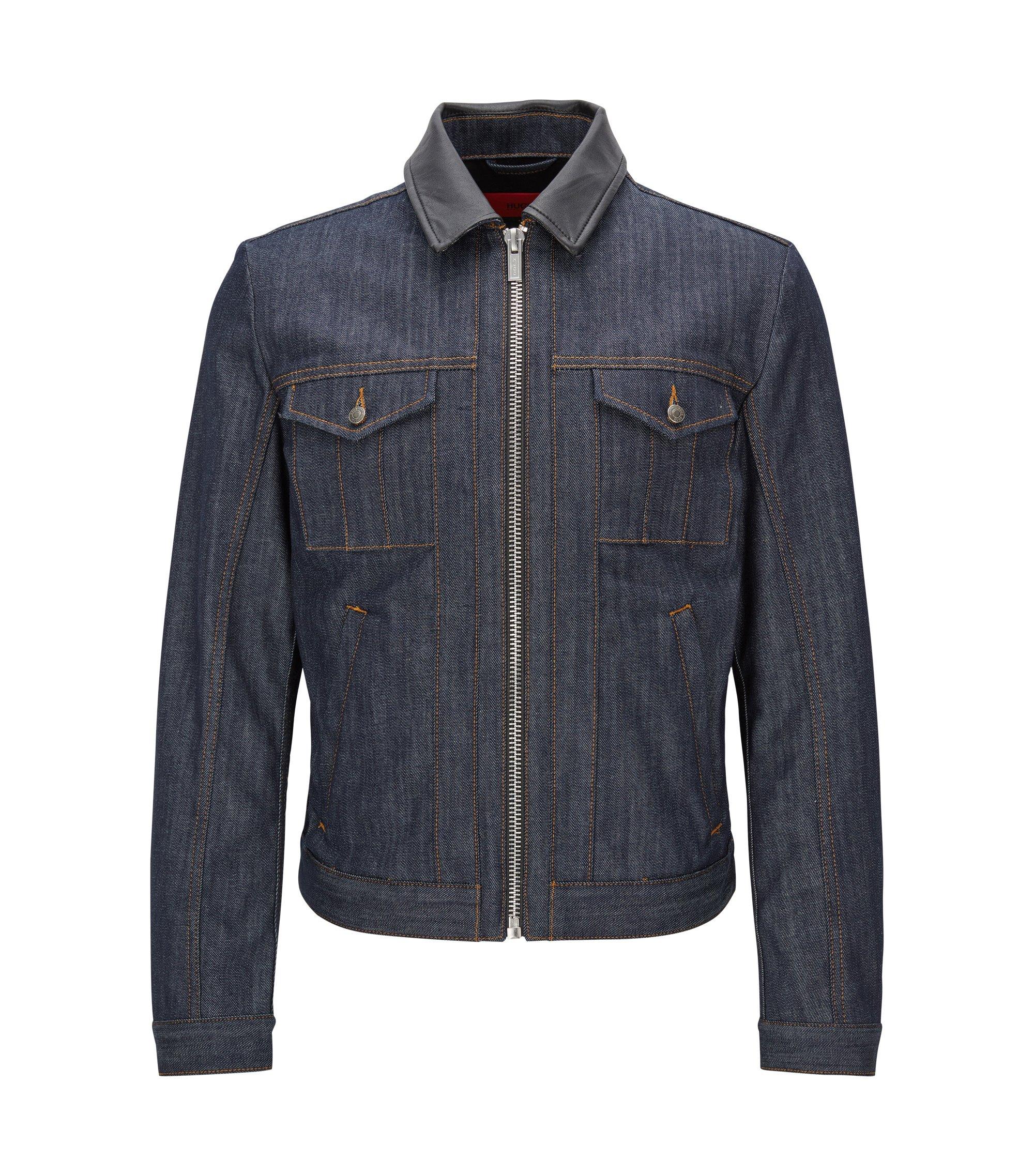 Stretch Cotton Denim Jacket | HUGO 058, Dark Blue