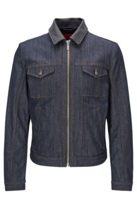 Stretch Cotton Denim Jacket | HUGO 058, Dark Blue