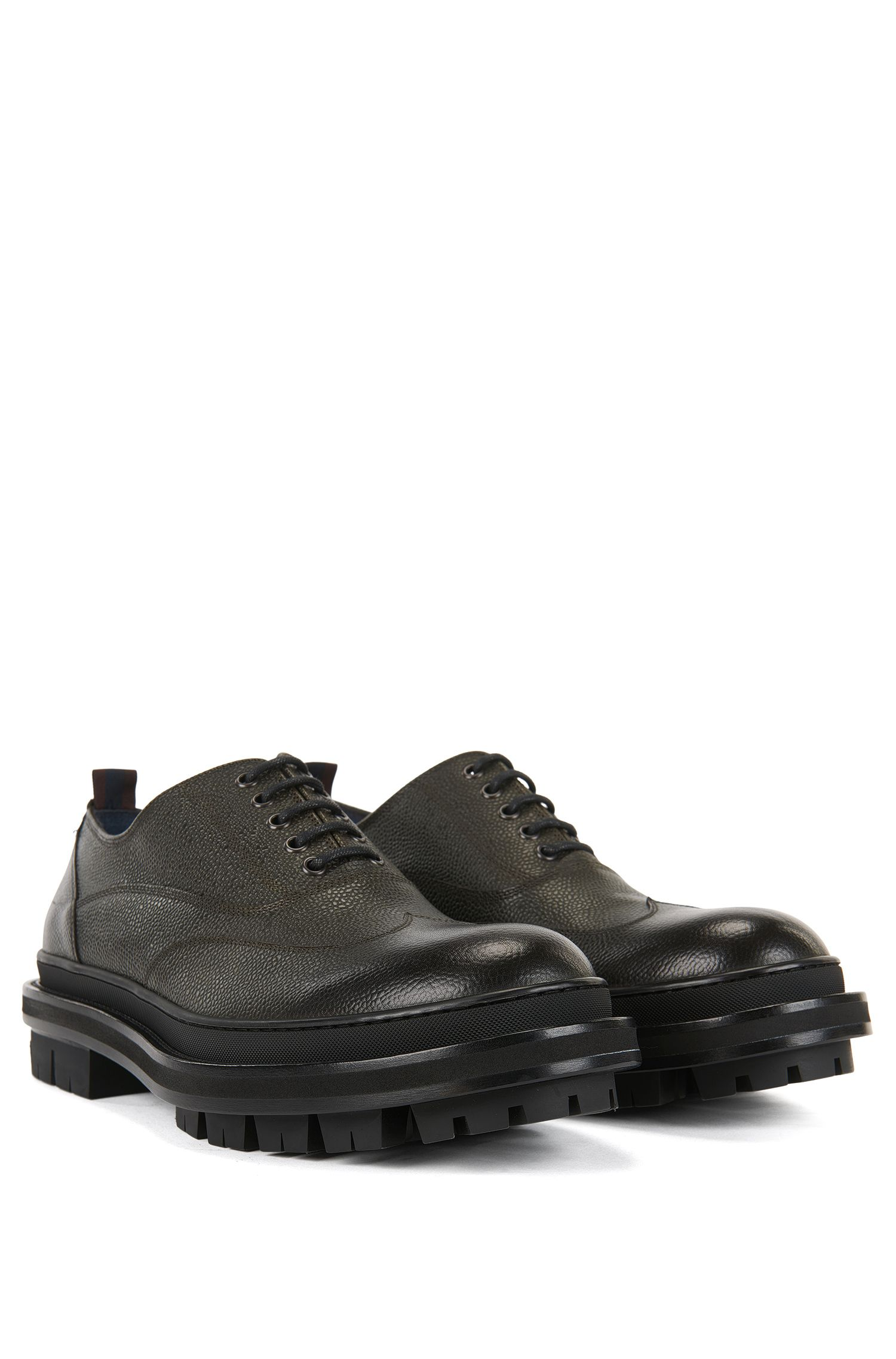 Oxford Shoes in Grained Leather | 'Twist', Dark Green