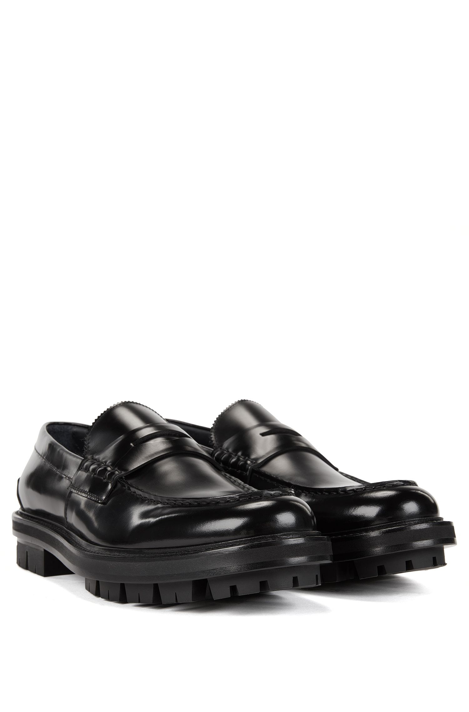 Leather Penny Loafer | Twist Mocc pe, Black