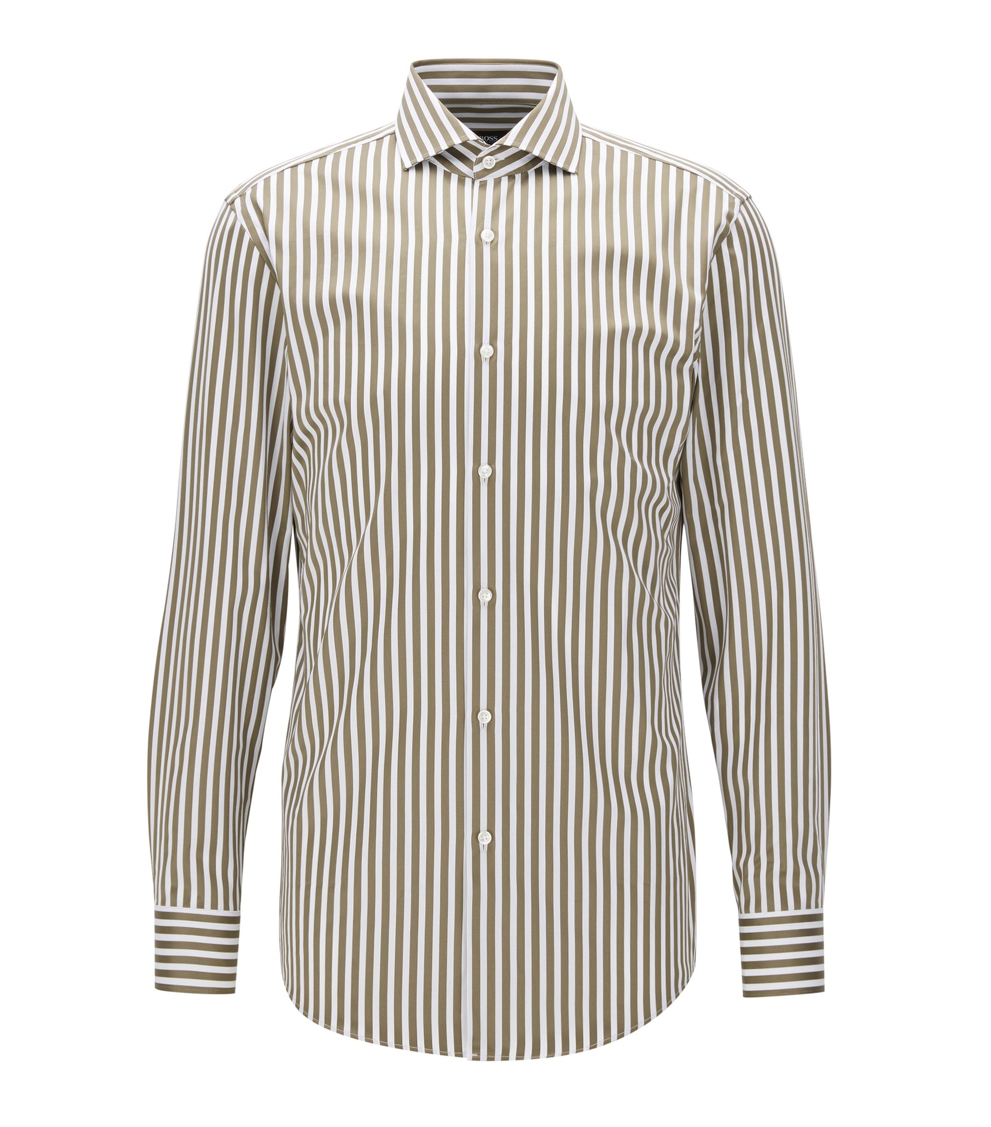 Striped Cotton Dress Shirt, Slim Fit | Jason, Open Green