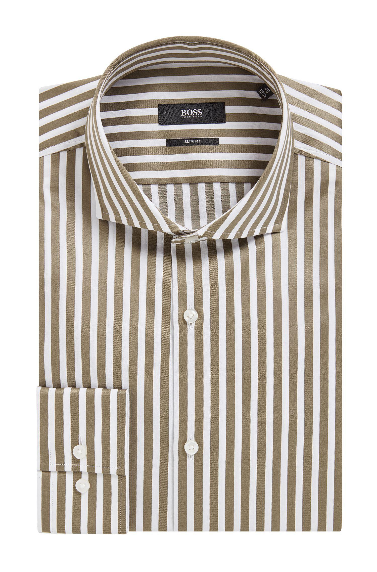 Striped Cotton Dress Shirt, Slim Fit | Jason