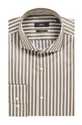 'Jason' | Slim Fit, Striped Cotton Dress Shirt, Open Green