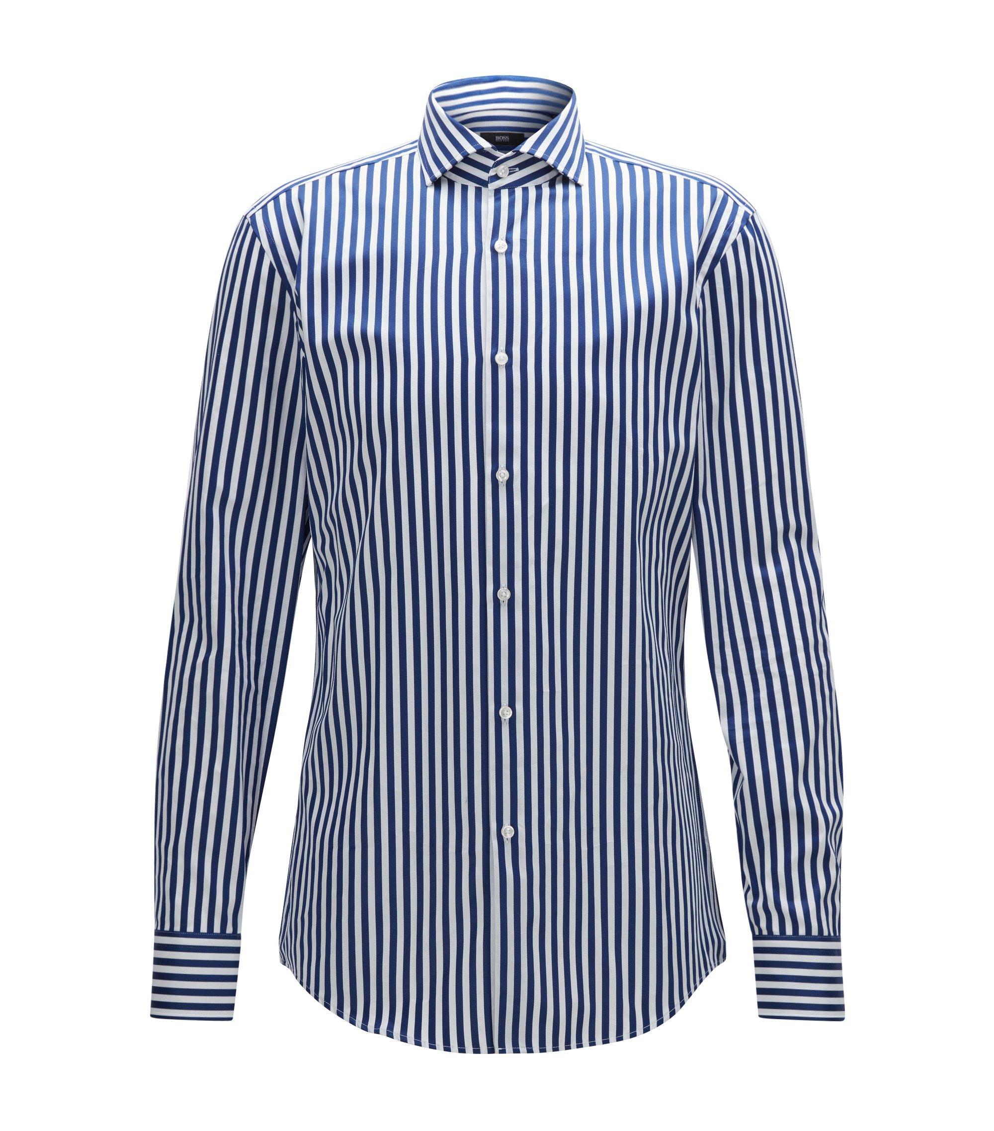 Striped Cotton Dress Shirt, Slim Fit | Jason, Dark Blue
