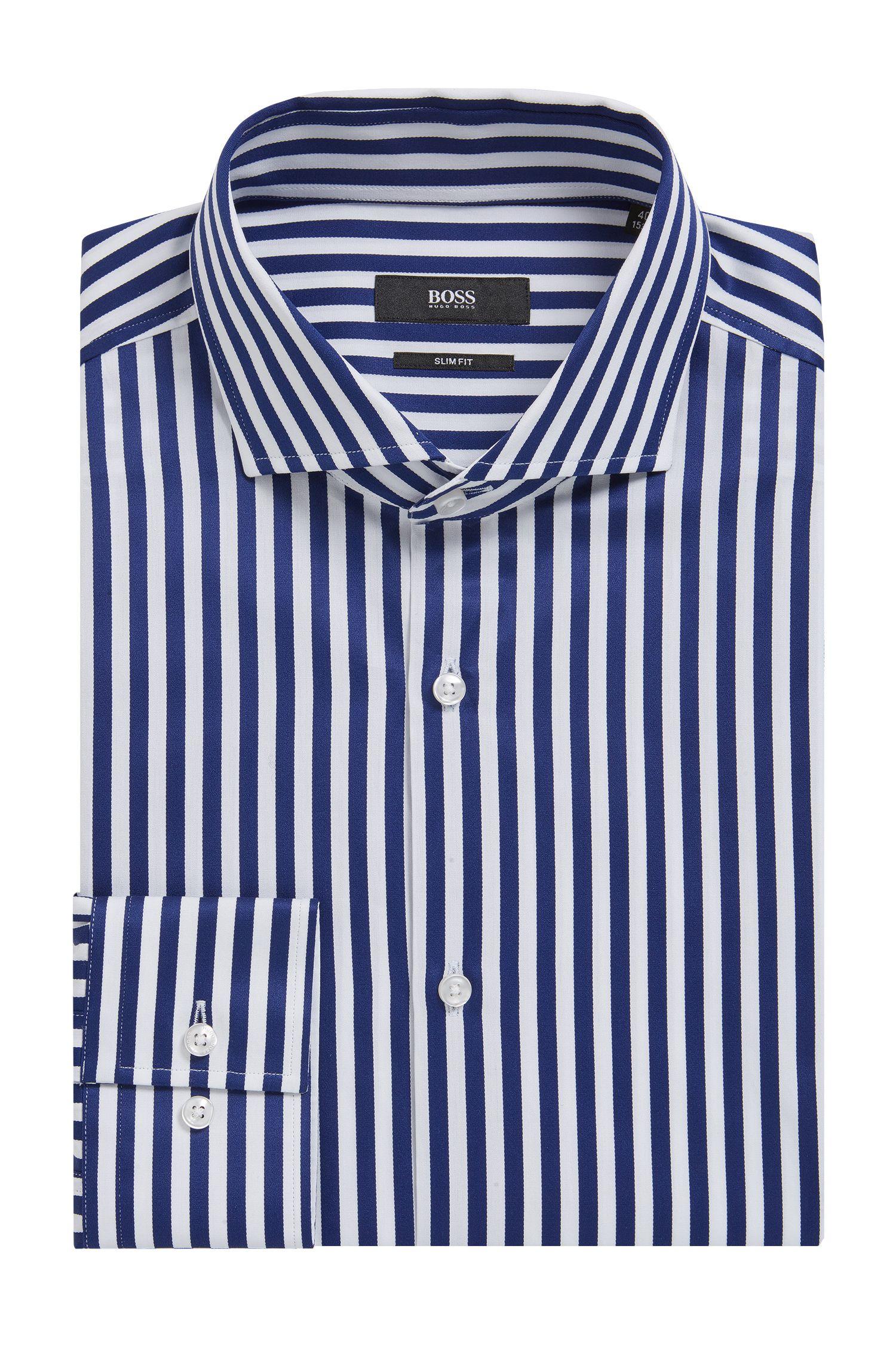 'Jason' | Slim Fit, Striped Cotton Dress Shirt