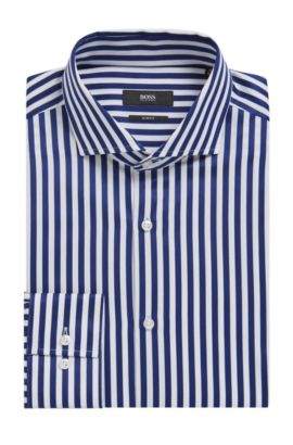 Striped Cotton Dress Shirt, Slim Fit | Jason, Dark Blue