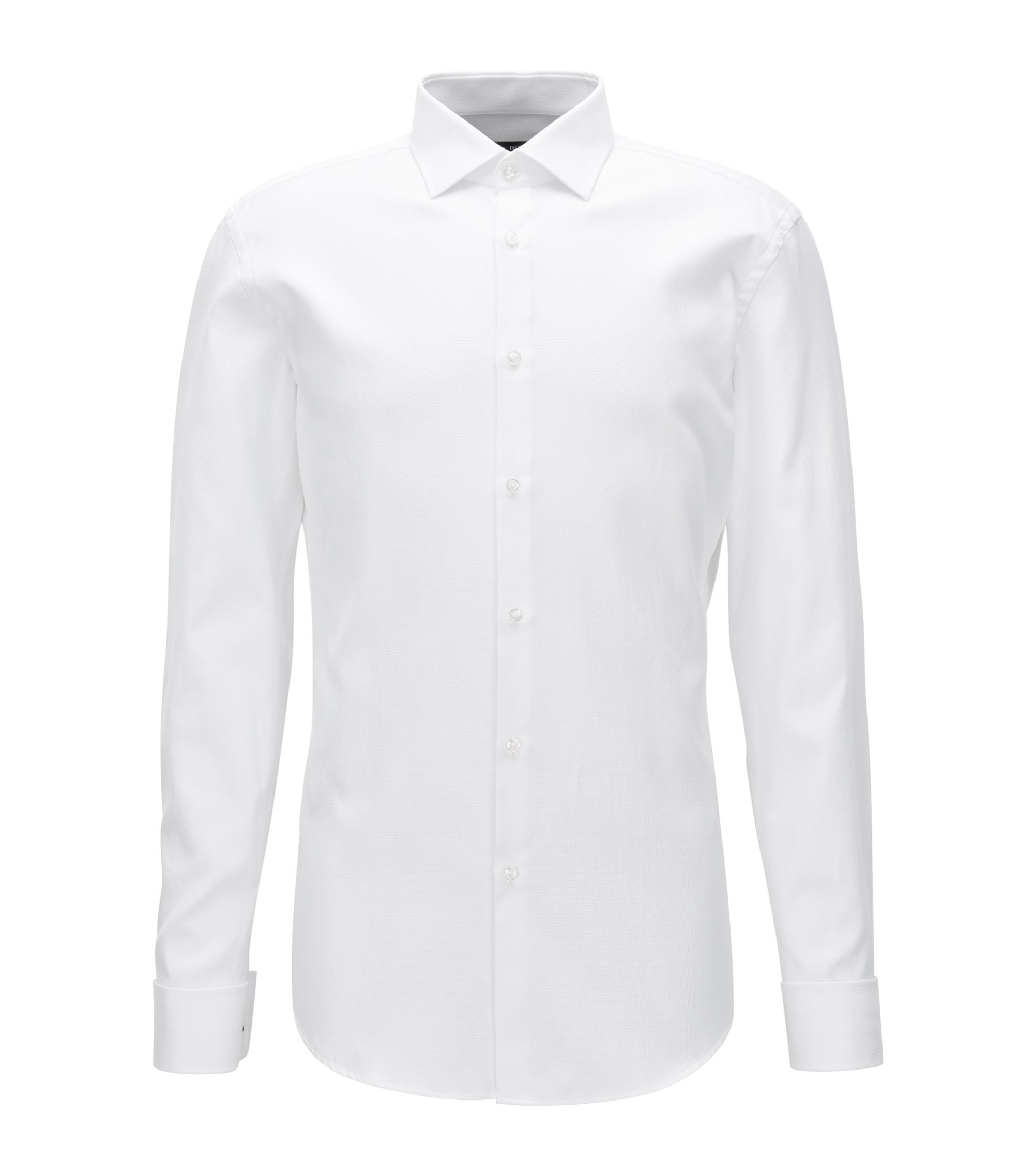 Geometric French Cuff Cotton Dress Shirt, Slim Fit | Jacques, White