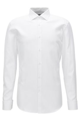 'Jacques' | Slim Fit, Geometric French Cuff Cotton Dress Shirt, White