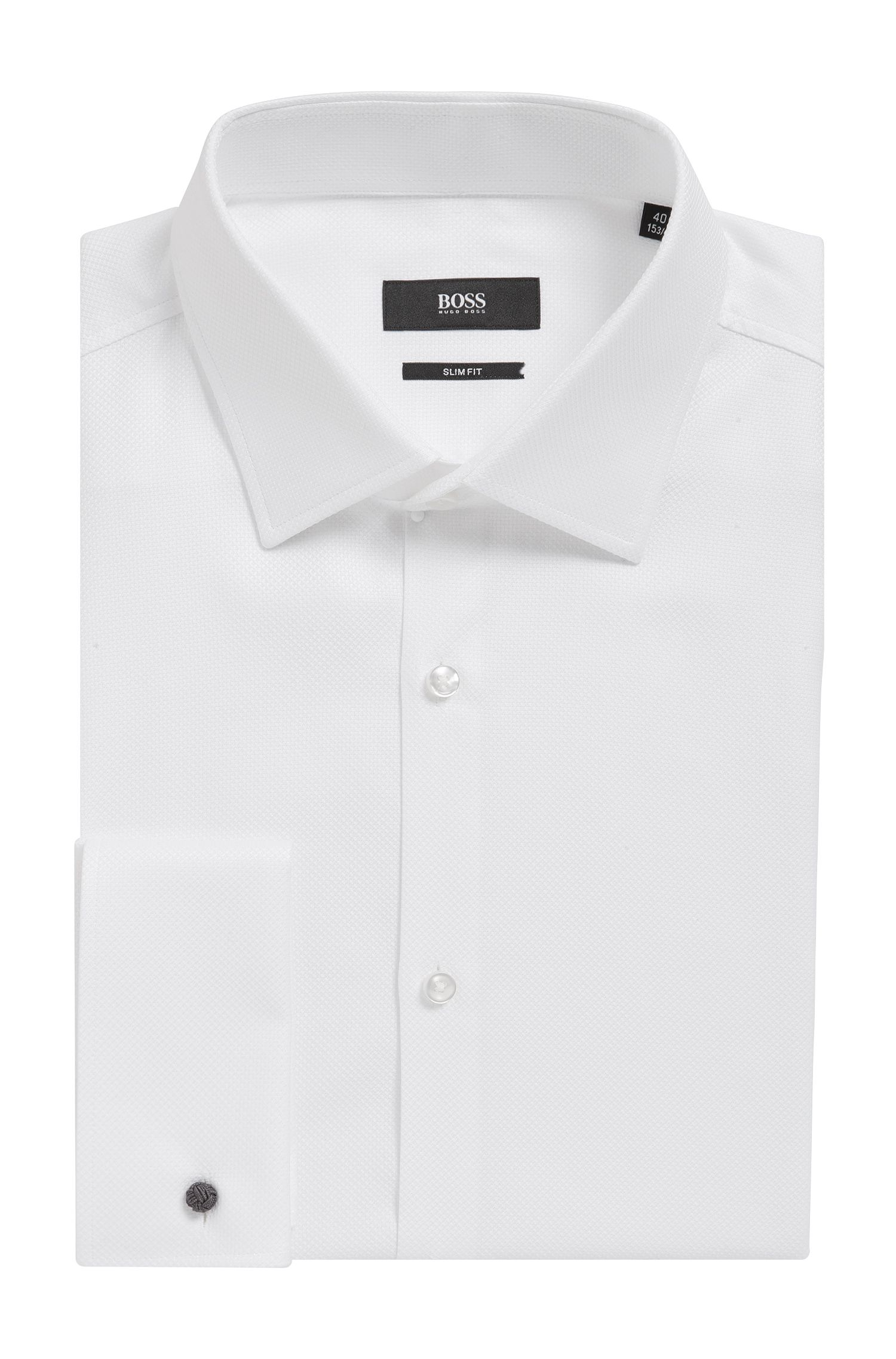 'Jacques' | Slim Fit, Geometric French Cuff Cotton Dress Shirt
