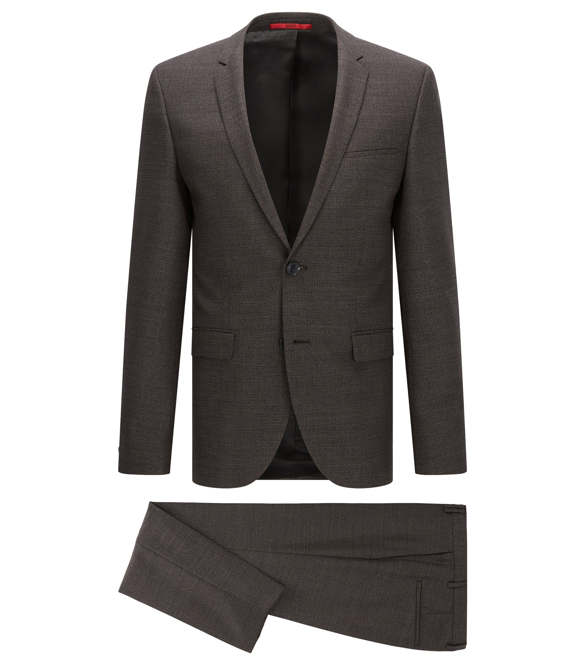 Windowpane Virgin Wool Suit, Extra Slim Fit | Adris/Heilon, Brown