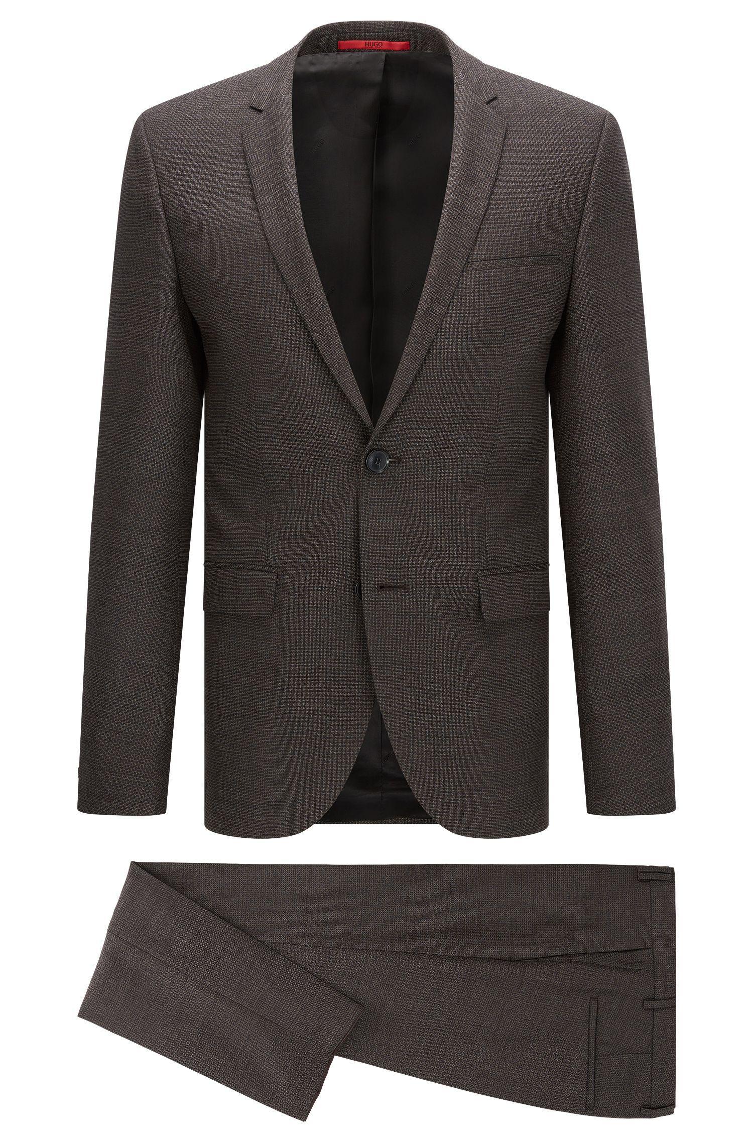 Windowpane Virgin Wool Suit, Extra Slim Fit | Adris/Heilon