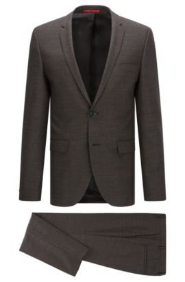 'Adris/Heilon' | Extra-Slim Fit, Windowpane Virgin Wool Suit, Brown