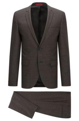 'Adris/Heilon' | Extra-Slim Fit, Windowpane Virgin Wool Suit, Brown