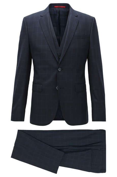 dd060e9b HUGO - Italian Virgin Wool 3-Piece Suit, Slim Fit | Adwart/Wilard/Hets