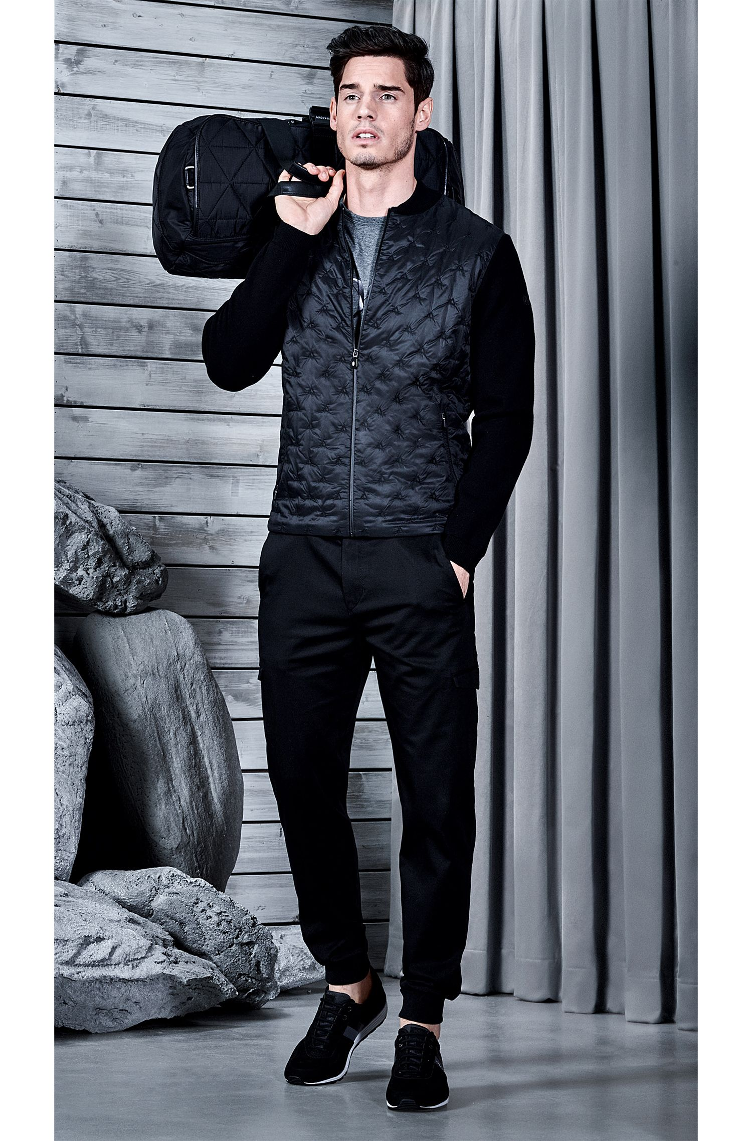 Pintucked Nylon & Cotton Blend Jacket | Zimen, Black