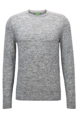 'Renny' | Melange Stretch Virgin Wool Blend Sweater, Light Grey