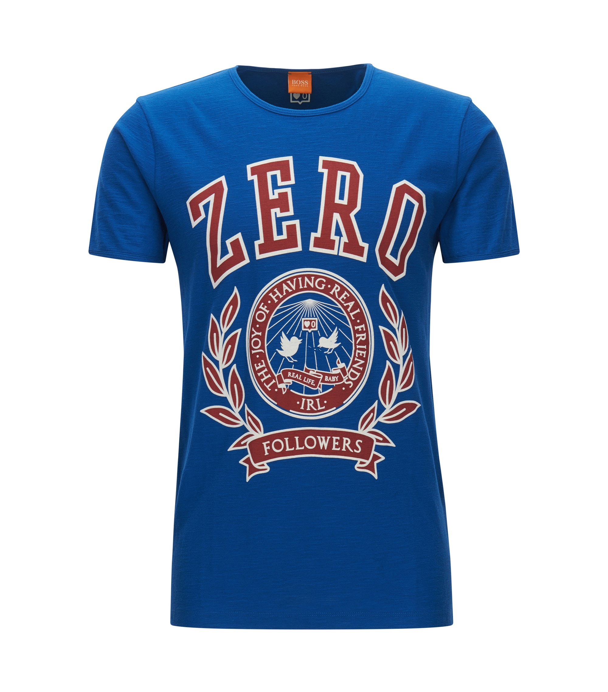 Stretch Cotton Graphic T-Shirt | Tee, Dark Blue