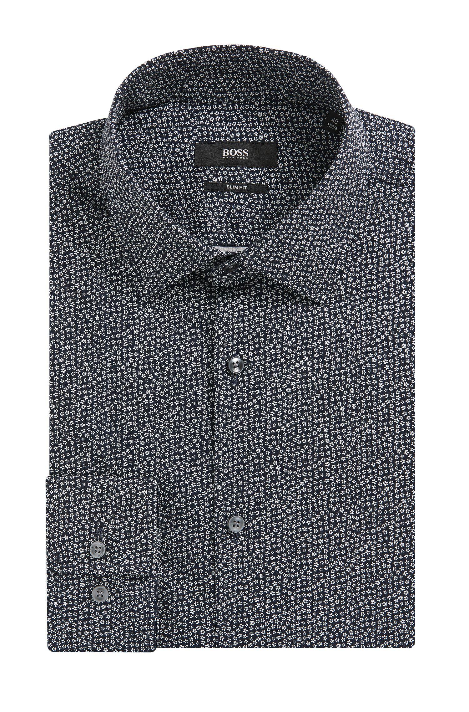 'Jenno' | Slim Fit, Flower-Print Cotton Dress Shirt