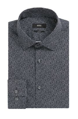 'Jenno' | Slim Fit, Flower-Print Cotton Dress Shirt, Dark Blue