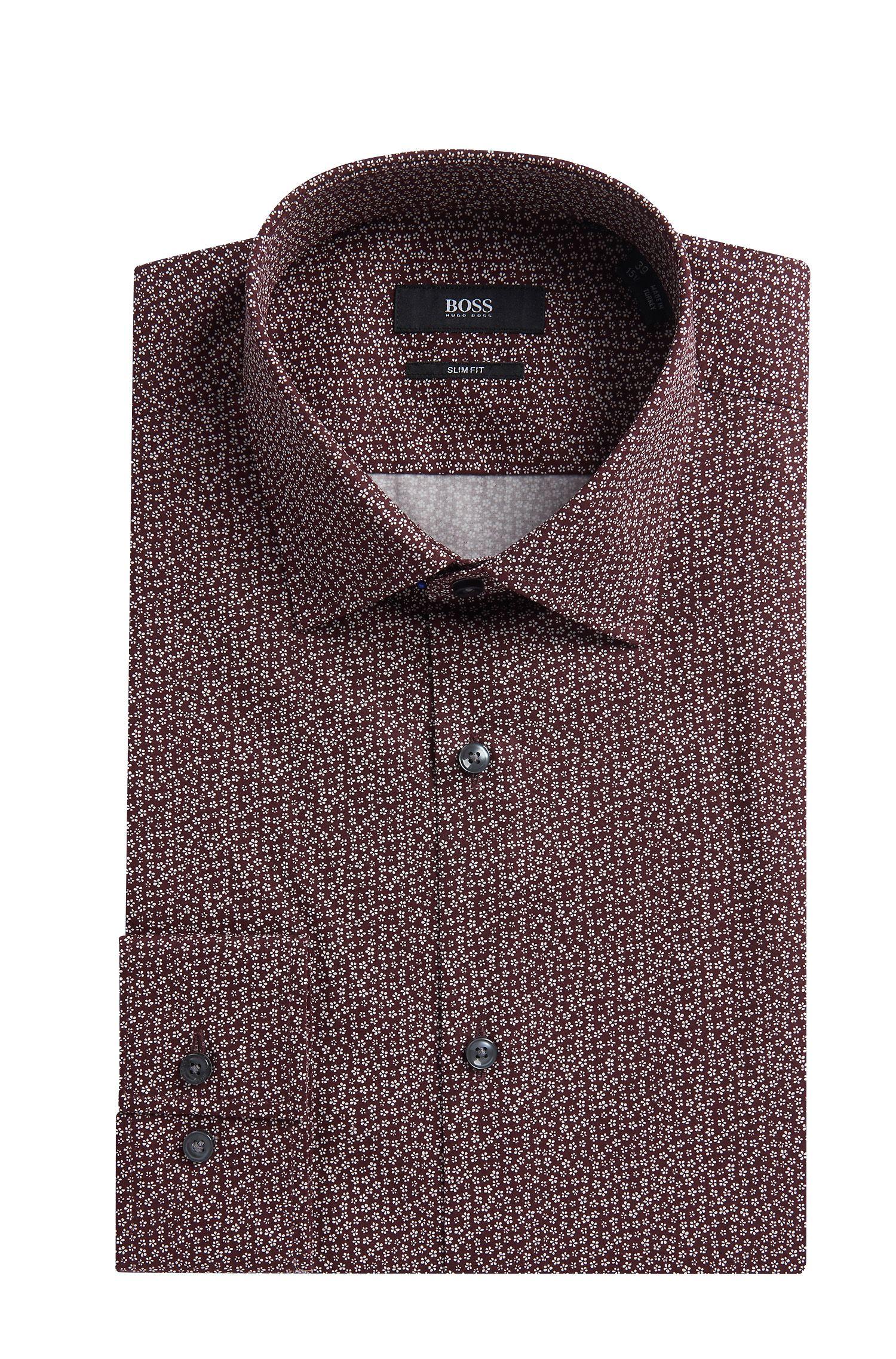 Flower-Print Cotton Dress Shirt, Slim Fit | Jenno, Dark Red