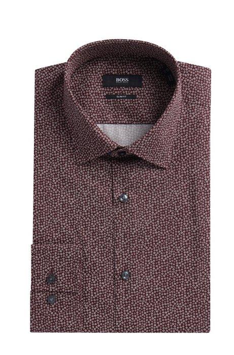 a7bad0209 Flower-Print Cotton Dress Shirt, Slim Fit   Jenno, Dark Red