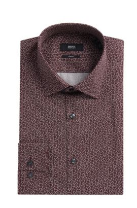 'Jenno' | Slim Fit, Flower-Print Cotton Dress Shirt, Dark Red