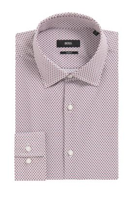 Geometric Cotton Dress Shirt, Slim Fit | Jenno, Red