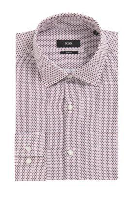 'Jenno' | Slim Fit, Geometric Cotton Dress Shirt, Red