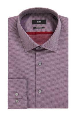 Diamond Print Cotton Dress Shirt, Slim Fit | Gerton, Red