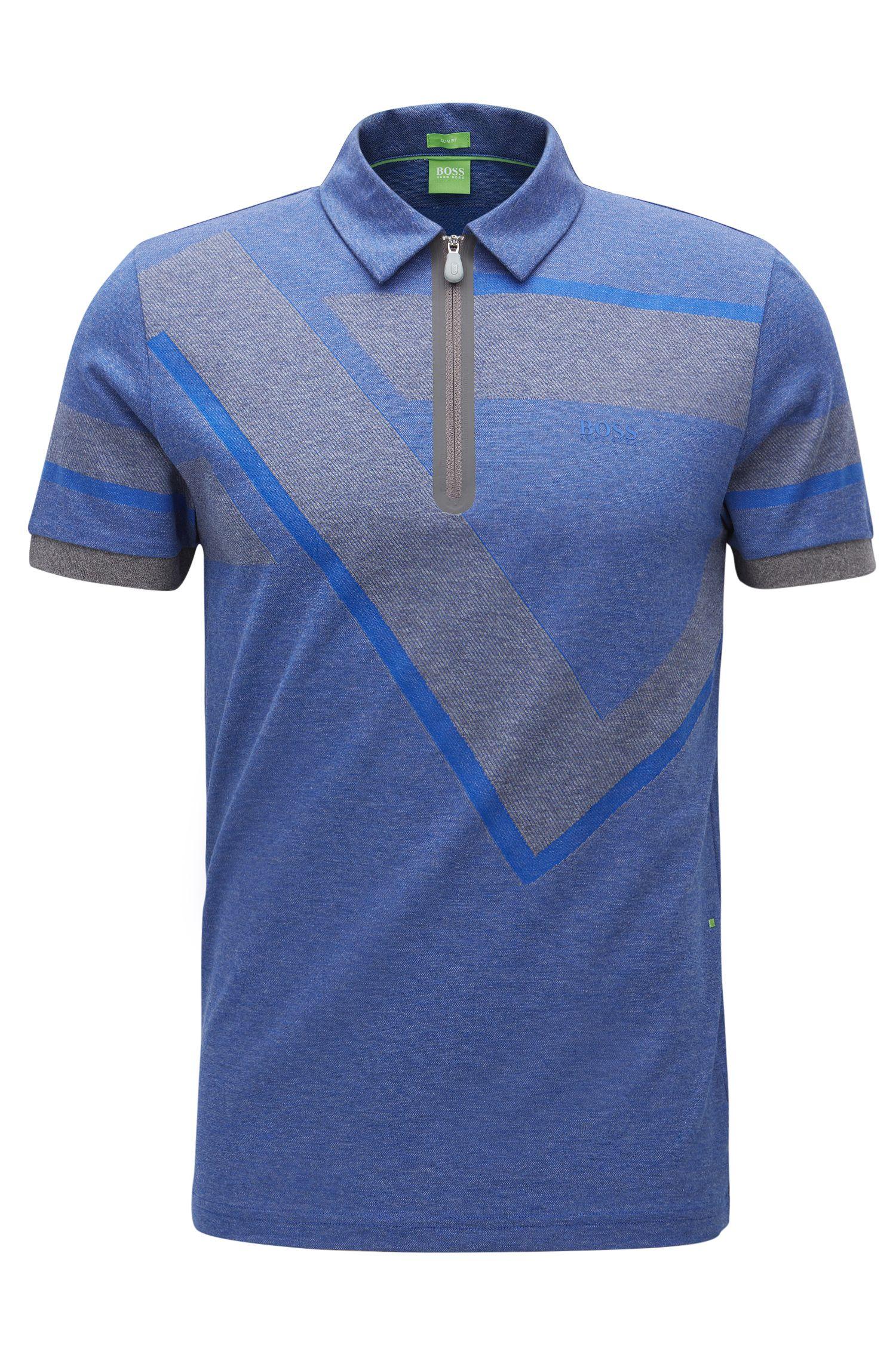 Geo-Print Cotton Polo Shirt, Slim Fit | Pariq, Grey