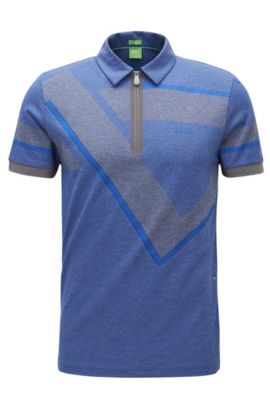 Geo-Print Cotton Polo Shirt, Slim Fit | Pariq, Grey