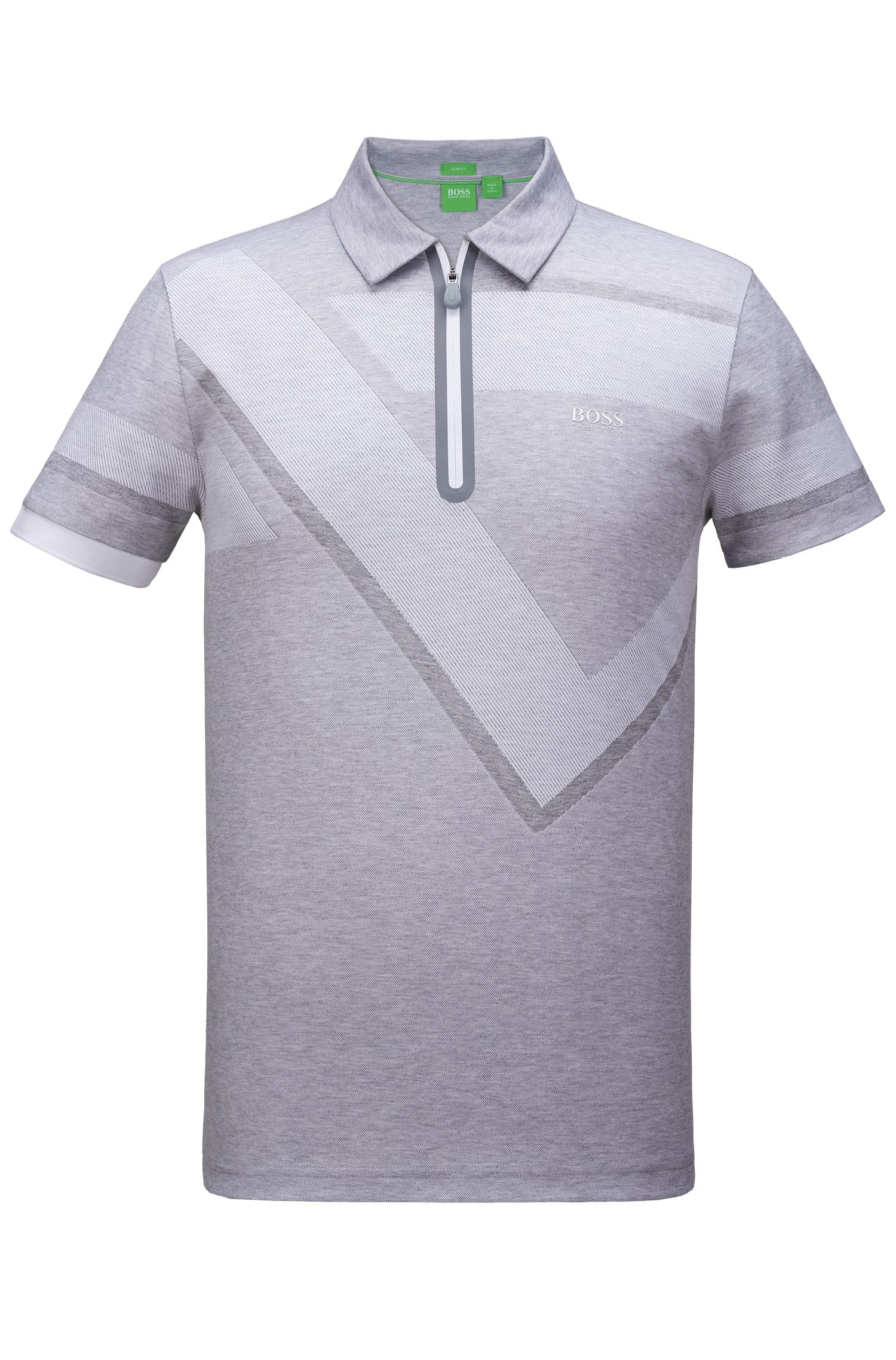 Geo-Print Cotton Polo Shirt, Slim Fit | Pariq