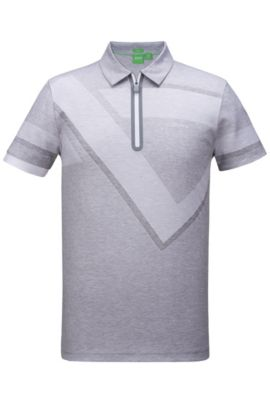 Geo-Print Cotton Polo Shirt, Slim Fit | Pariq, White
